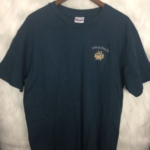 Hanes Beef-T Bad To The Bone Navy Shirt Large